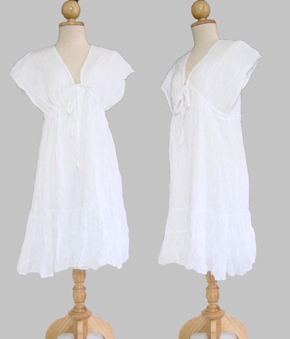 Short white peasant dress - White dress