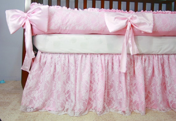 Satin Crib Bedding White Lace Baby Crib Bedding White Cotton And