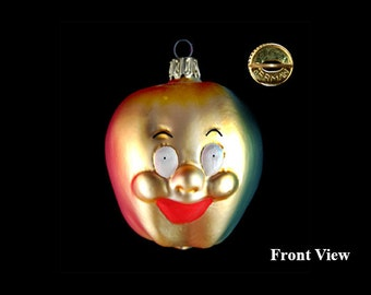 "Vintage Glass Hand Painted ""Happy Face"" Golden Apple Holiday Ornament - Germany"