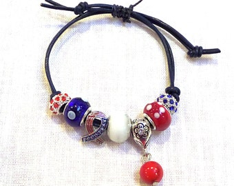 Give me Liberty! Patriotic Red White and Blue Charm bracelet  Mother's Day gift idea