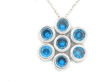 1.75 Carat London Blue Topaz Bezel Pendant .925 Sterling Silver Rhodium Finish