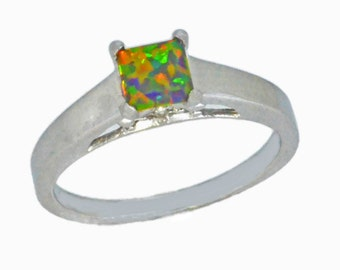 Black Opal & Diamond Princess Cut Ring .925 Sterling Silver Rhodium Finish