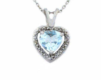 1 Ct Natural Aquamarine & Diamond Heart Pendant .925 Sterling Silver Rhodium Finish