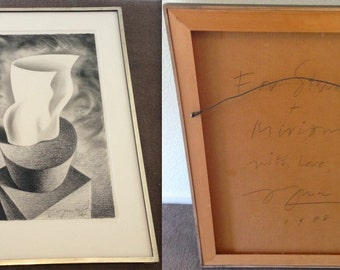 JAYME ODGERS SIGNED & Dated 1988 Charcoal Drawing Art Painting Miriam Wosk Artist Estate