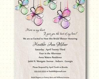 Bridal Shower Invitation, vow renewal, wedding invitation, flowers, taupe slate, rehearsal dinner, bridal luncheon, classic, modern, BW1474