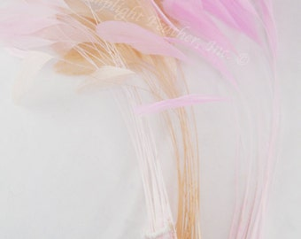 30+ feathers, Pink Mix, stripped coque Mix, triple pink, light pink, hat feathers, fascinators per 25 feathers