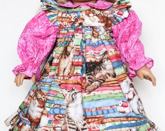 Kittens in Pink & Blue, 18 Inch Doll Clothes, Pinafore Dress, Cats, Sewing, Fabric