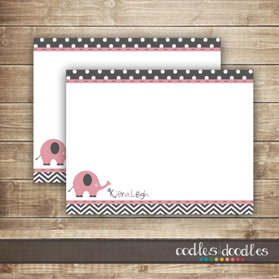 elephant chevron personalized note card personal stationery