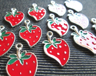 6 Pcs - Enamel Strawberry Pewter Charms Pendants Berry  - CT - 0254