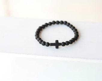 Mens 6MM Black Cross Bracelet - Mens Black Onyx Stone Cross Bracelet - Onyx matte gemstone beads - Stonecross