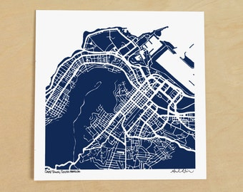 Cape Town Map, Hand-Drawn Map of Cape Town, South Africa