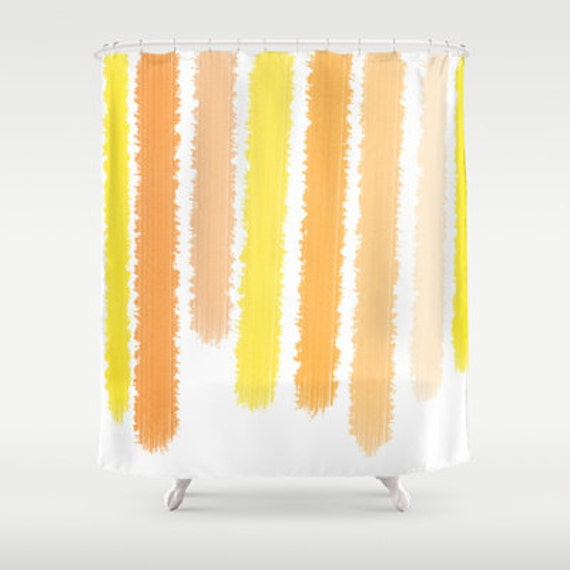 Orange Yellow Shower Curtain Striped Shower By ShelleysCrochetOle