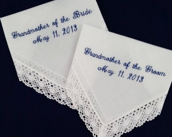 Wedding Handkerchief for Grandmother of the Bride and Grandmother of the Groom, Set of Two,  Free Shipping by Priority Mail