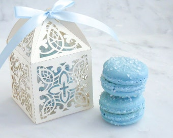 Communion Favors French Macaron Favor Baptism Favor Box and (2) French Macaroon
