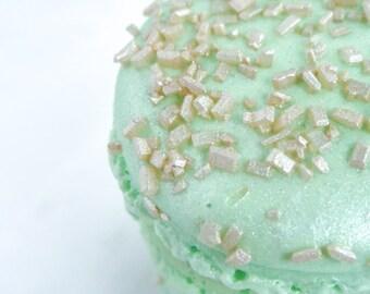 French Macaron Cookies 12 Gold Glitter Sugar Mint Green Macaroons Gift Splendid Sweet