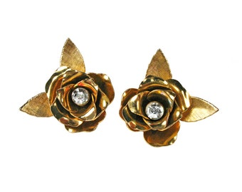 Vintage Coro Clip Earrings - Gold Flowers with Rhinestone Center