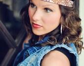 Tribal Boho Headband, Tribal Headband, Boho Headband, Bohemian Headband, Native American headband, Celtic headband, workout headband