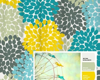 Shower Curtain Yellow Blue Vintage Ferris Wheel Inspired Floral Standard and Long Lengths 70, 74, 78, 84, 88 or 96 inches