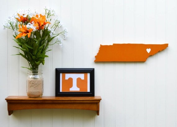 """Tennessee Volunteers """"State Heart"""" wall art, handcrafted wood wtih official team colors"""