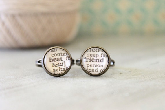 Gift for Best Friend Ring Set Dictionary Pages Gift for Friend Bridesmaid Gift Friendship Jewelry Friendship Rings Ring set Gifts under 25