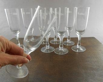 Vintage Soviet glass set Vodka glass set of 9 glasses 100ml footed Vodka glasses USSR era