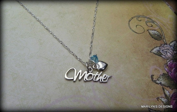 Sterling silver Mothers  necklace, Mother's Day Jewelry,  grandma jewelry, birthstone necklace