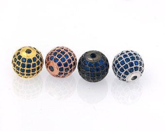 Round Pave Beads, Capri Blue CZ Pave Ball Bead, Disco Bead, 6mm 8mm 10mm 12mm Pkg of 1PCS, B0N0.RH18.P01