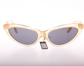 Retro clear adorned lucite cateye sunglasses made in Italy in the 1980s, NOS