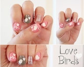 The Love Birds -Vinyl Nail Stickers  Pack of 50  -Birds, Branches, and Hearts - stickitvinyl