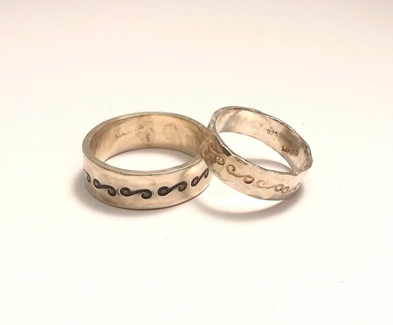 Wedding Matching bands - Textured Rustic oxidation silver rings ...