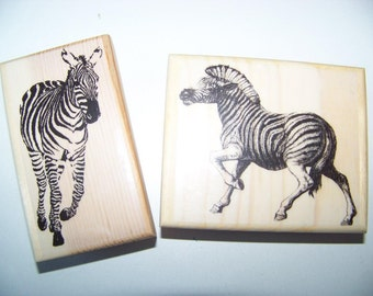 Two Brand New Mounted Rubber Stamps - Zebras