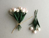 Light Pink Paper Tulips - Set of 10 - Made of mulberry paper with wire stems - Miniature - Great for card making & wedding favour [519]