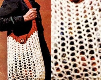 Crochet Shopping Bag - PDF Instant Download - Mesh Handbag - Vintage Fashion Shopping Net - Digital Pattern - Recycling Grocery Bag - Vtg