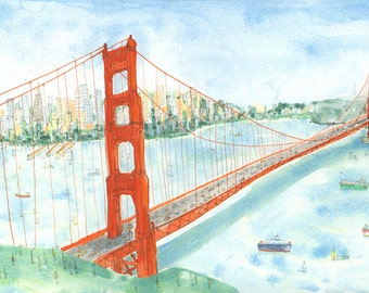 GOLDEN GATE BRIDGE, San Francisco California, Bright Wall Art, Painting, Watercolour, Limited Edition Signed Giclee print by Clare Caulfield