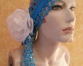 Gatsby Goddess Turquoise Illusion Jewel Mesh Rose Satin Bridal Headpiece Wedding Party Costume