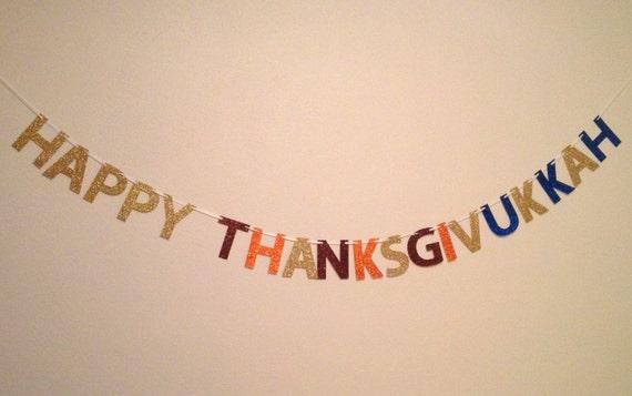 LAST ONE LEFT!!!!! Happy Thanksgivukkah Glitter Banner : Thanksgiving/Hanukkah