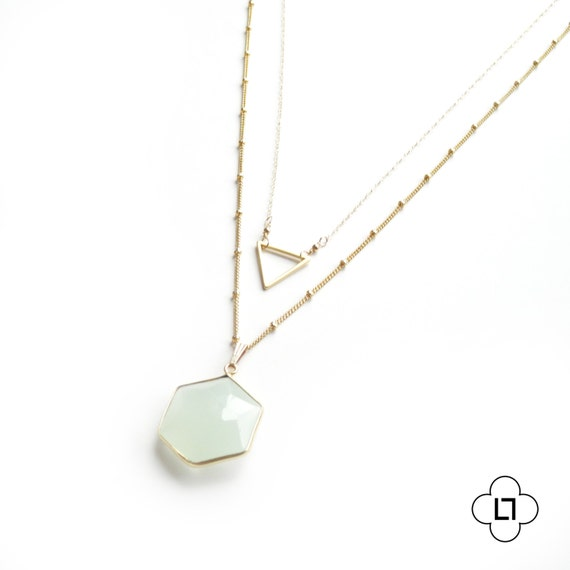 Gold Triangle and Chalcedony Geometric Layer Necklace