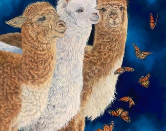 "Midnight Ballet 10"" x 15"" Alpacas And Butterflies."