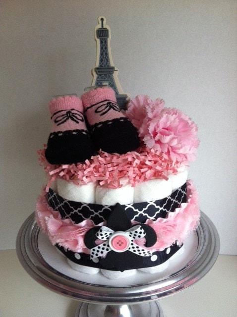 Pink Black And White Paris Eiffel Tower Mini Diaper Cake