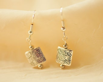 Tiny Tibetan Silver – Swirl Design Earrings