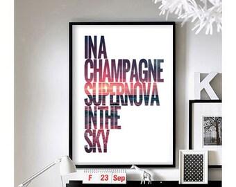 Lyric Quotes ('Champagne Supernova') -  Art Print