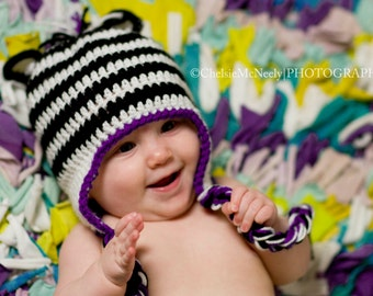 Crochet Zebra Earflap Hat, Boys or Girls, Baby, Child and Adult Sizes, Zebra Hat, Kids Zebra Hat