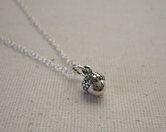 Tiny Acorn Charm Sterling Silver Necklace - Woodland Necklace, Nature Jewelry