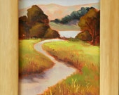 Walk to the Lake - California seascape plein air 8x10 oil painting framed - ON SALE