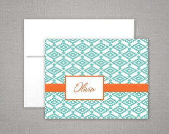 Personalized Stationery - Diamond Pattern Note Cards - Gift Set - Personalized Stationary