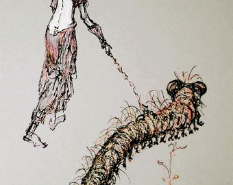 Woman walking with caterpillar original drawing by Tank-A Gabriliants
