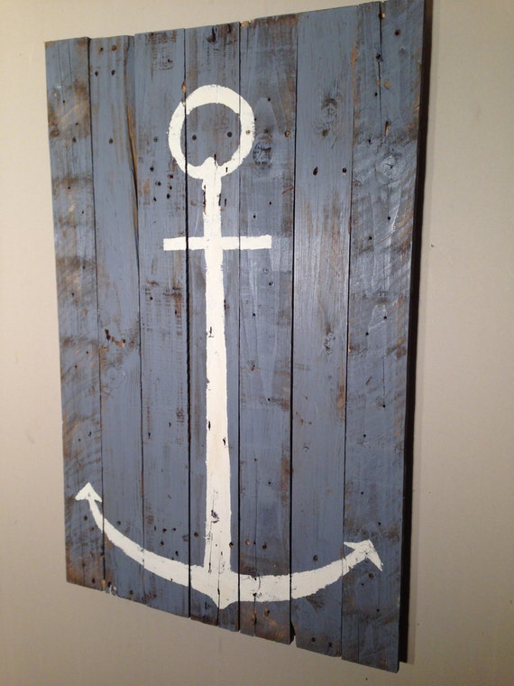 Blue Anchor Wall Decor : Nautical decor anchor wall hanging on blue