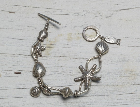 Fine silver low tide sealife seashell bracelet handmade by ladeDAH! jewelry