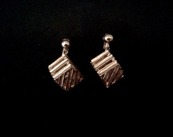 Hip Mid Mod 1950s Gold Tone Box Earrings