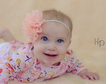 Peach Baby headband, infant headbands, shabby chic headband, newborn photo prop, baby accessories. Infant headbands, headband for baby